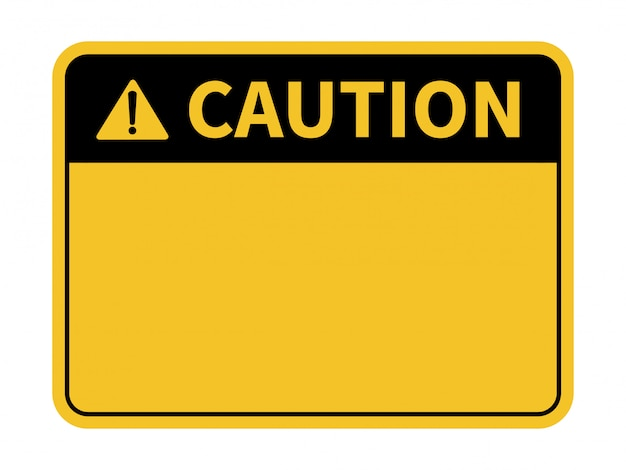 Blank caution sign. yellow background. background with space for text writing.