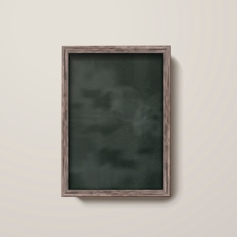 3 dイラストレーションで壁に分離された木製のフレームと空の黒板