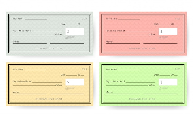 Blank check template. banking check template.