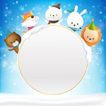 Blank circle frame with cartoon animal