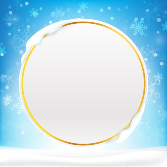 Blank circle frame with copy space and winter snow flake falling into snow floor