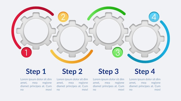 Blank circle gears infographic template. fancy presentation design elements with text space