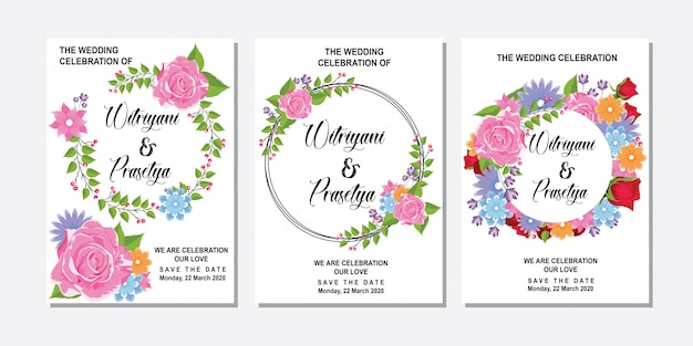 Blank circle pink roses frame for wedding invitation