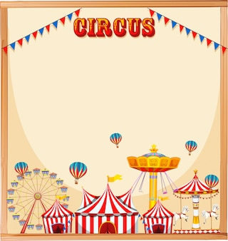 Blank circus template frame with text, rides and flags