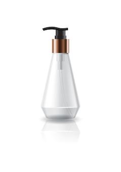 Пустая прозрачная косметическая бутылка с конической головкой с черной головкой насоса.