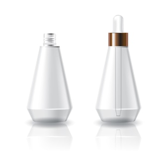 Blank clear cosmetic cone shape bottle with white dropper lid.