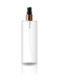 Blank clear cosmetic cylinder bottle with black press spray head.