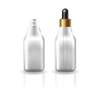 Blank clear cosmetic square bottle with dropper lid.