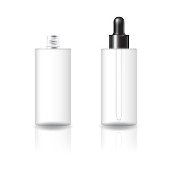 검은 점 적기 뚜껑 제품 템플릿이있는 빈 투명 실린더 화장품 병.