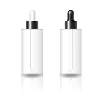 흰색과 검은색 스포이드 뚜껑 모형 템플릿이 있는 빈 투명 실린더 코스메틱 병. 반사 그림자와 흰색 배경에 고립. 패키지 디자인에 사용할 준비가 되었습니다. 벡터 일러스트 레이 션.