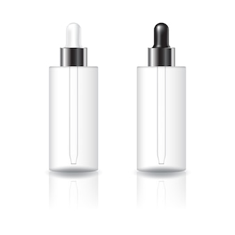 Blank clear cylinder cosmetic bottle with white and black-silver dropper lid mockup template.
