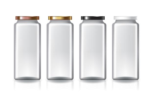 Пустая прозрачная высокая квадратная банка с цветной плоской крышкой для пищевых добавок или пищевых продуктов, изолированные на белом фоне с тенью отражения