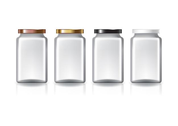 Пустая прозрачная квадратная банка среднего размера с цветной плоской крышкой для пищевых добавок или пищевых продуктов. изолированные на белом фоне с тенью отражения.