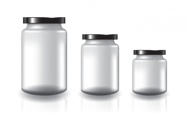 Blank clear round jar with black flat lid.