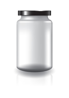 Blank clear round jar with black lid high size.