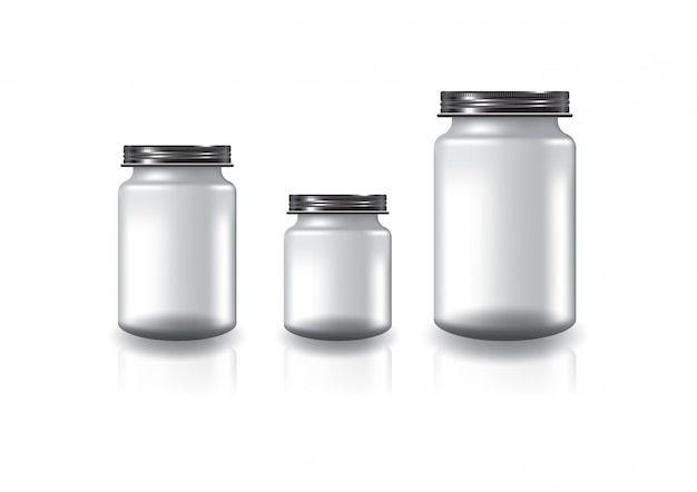 Blank clear round jar with black screw lid.