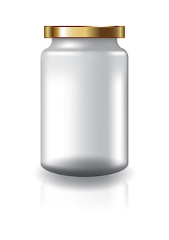 Blank clear round jar with gold lid high size for supplements or food product.