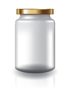 Blank clear round jar with gold lid medium high size for supplements or food product.