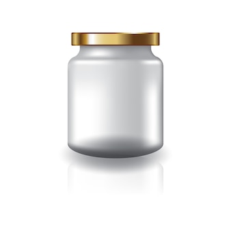Blank clear round jar with gold lid for supplements or food product.