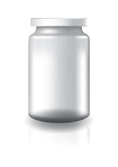 Blank clear round jar with white lid high size.