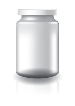 Blank clear round jar with white lid medium high size.