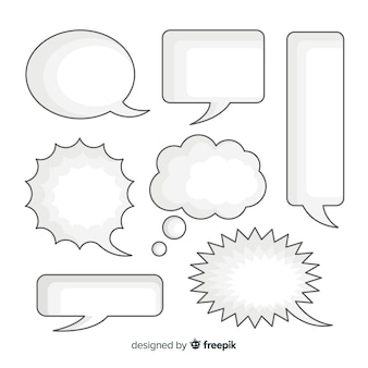 Blank clear speech bubbles collection