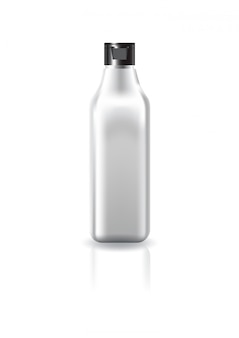 Blank clear square cosmetic bottle with black cap lid for beauty product mockup template.