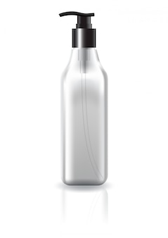 美容製品モックアップテンプレートの黒いポンプヘッドと空白の明確な正方形化粧品ボトル。