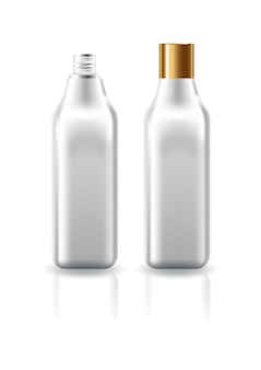 Blank clear square cosmetic bottle with plain gold screw lid for beauty product template.