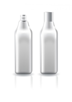 Blank clear square cosmetic bottle with white screw lid for beauty product template.
