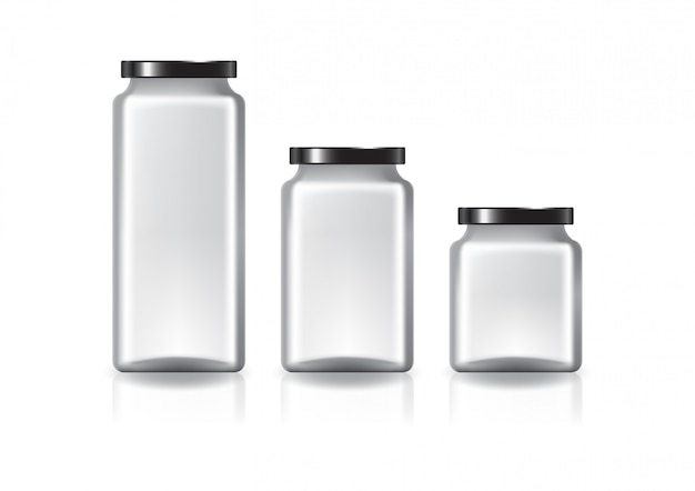 Blank clear square jar with black flat lid.
