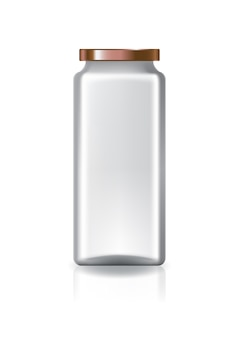 Blank clear square jar with copper lid high size.