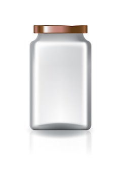 Blank clear square jar with copper lid medium high size.