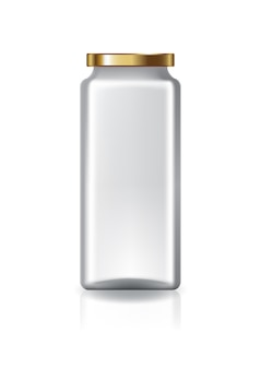 Blank clear square jar with gold lid high size.