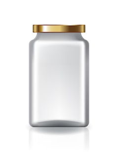 Blank clear square jar with gold lid medium high size.