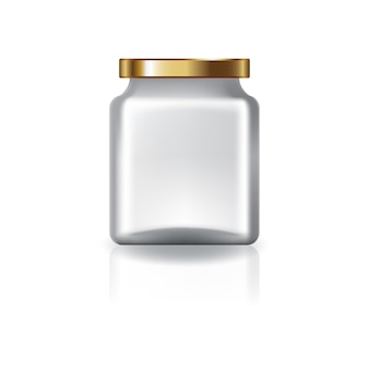 Blank clear square jar with gold lid.
