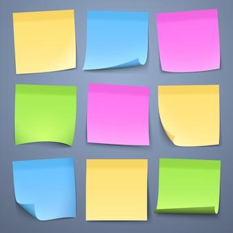 Blank color message sticky papers vector set. reminder sheet memo, post sticky sticker for message illustration