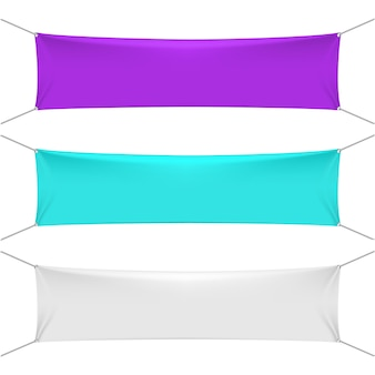 Blank color textile horizontal banners with copy space
