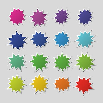 Blank colorful paper starburst balloons, explosion shapes. boom sale stickers vector set isolated