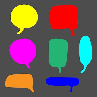Blank colorful speech bubbles set with different hand drawn shape isolated on grey background