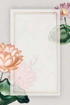 Blank colorful water lilies frame vector