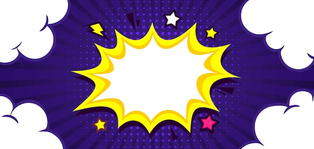 Blank comic burst background with star