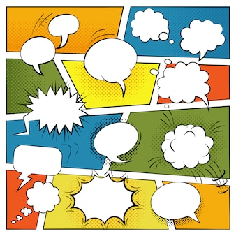 Blank comic speech and sound effects bubbles set