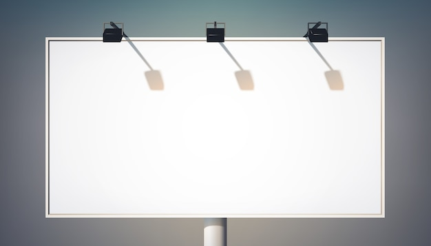 Blank commercial horizontal billboard on metallic column for advertisement and promotion with spotlights isolated