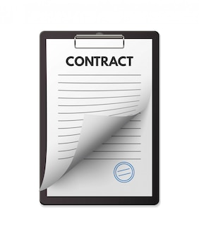 Blank contract with seal on clipboard. deal agreement, treaty signing.