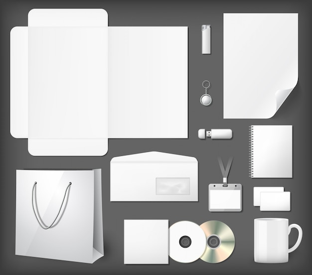 Blank corporate identity mock ups set. notepad, cd cover, shopping bag, usb stick, lighter, envelope, coffee mug.