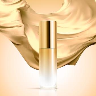 Пустая косметическая стеклянная бутылка с атласной тканью на фоне золотого цвета, 3d иллюстрация