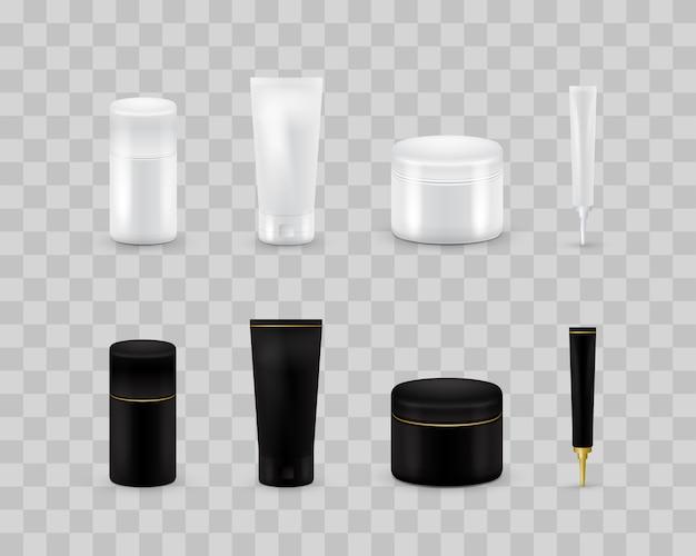 투명 한 체크 무늬에 고립 된 빈 화장품 패키지 컬렉션 집합입니다. 현실적인 화장품 병 세트를 조롱. 샴푸와 크림 팩. 흑백.