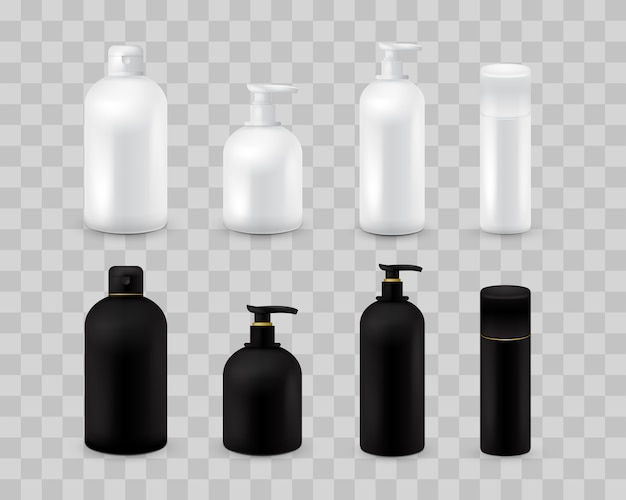Blank cosmetic package collection set isolated on transparent checkered. realistic cosmetic bottle mock up set. shampoo and cream pack. black and white color.