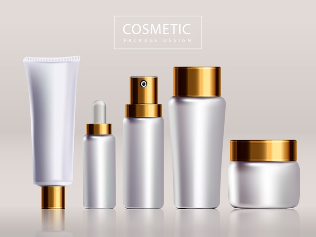 空白の化粧品パッケージデザイン、3dイラストで隔離の白いボトルと金色の蓋
